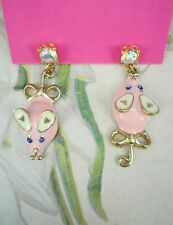 Girl Betsey Johnson Ear Ring Kawaii Pink Pig Chandelier Dangling Drop Earring