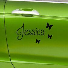 2 X Personalizado Nombre Vinilo coche Pegatinas Con Mariposas nombre personalizado calcomanías