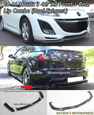 MS-Style Front Lip + MS-Style Rear Lip (Dual Exhaust) Fits 10-11 Mazda 3 4dr