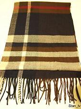 NEW Cashmere Scarf Black Brown Beige Plaid Checks Stripes Soft Warm Men Women C7