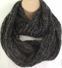 Superb Chunky Knit Black / Charcoal Mix  Circle Loop Infinity Scarf Snood Gift