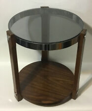 Vintage Mid-Century Hollywood Regency Accent Side Table~Smokey Glass Top~MCM