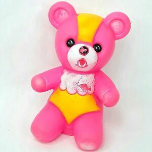 Rubber Vinyl Teddy bear figure toy figurine Pink Squeaky Vintage