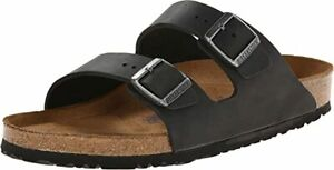 Birkenstock Unisex Black Oiled Leather with Leather Sole Sandals US 10-10.5 A(N)