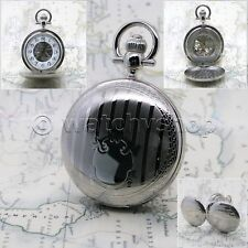 SILVER Mechanical Pocket Watch Brass Men Skeleton Double Hunter on Chain Box P41