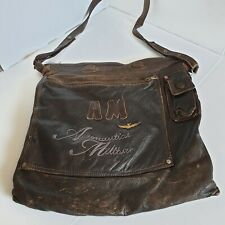 Aeronautica Militare Square 16 inch Cross Bag Men Womens Military Brown