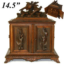 Lrg Antique Black Forest Desk Cigar Cabinet, Chest, Box not Humidor, Game Birds