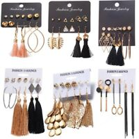 BOHO Women 6Pairs Tassel Crystal Metal Earrings Set Ear Stud Dangle Hook Suit