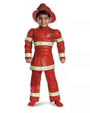 Red Fireman Toddler Boy Halloween Dress Up Firefighter Costume Size 2T