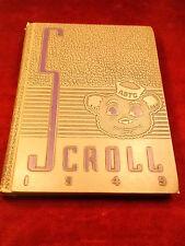 """#2 of 9, VTG """"UCA"""" 1949 """" ASTC SCROLL"""" YEARBOOK, ARKANSAS STATE TEACHERS COLLEGE"""