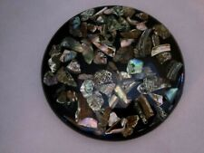 Vintage Abalone Shell Resin Lucite Hot Plate Trivet Mother Of Pearl Mid Century