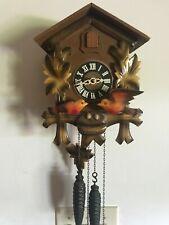 Vintage German Dancing Birds Nest & Chicks Cuckoo Clock w/ Hanger , Works.