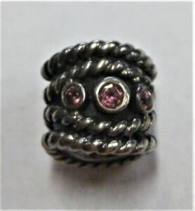 Pandora Sterling Silver (.925) ALE Bead w/ 3 Pink Stones