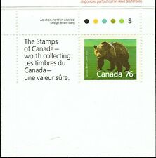 Canada sc#1178a Wildlife - Mammals : Grizzly Bear, Unit from Booklet, Mint-Nh