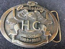 VTG 1988 HARLEY DAVIDSON BELT BUCKLE HOG OWNERS GROUP 5TH ANNIVERSARY