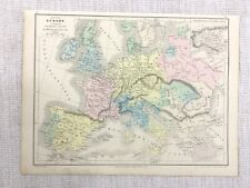 1877 Antique Map of Europe King Charles V Roman Emperor 16th C Hand Coloured