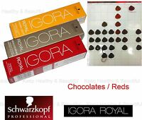 1x Schwarzkopf IGORA Permanent Color Creme Chocolates / Reds 60ml FREE post