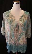 Chico's Size 2 Tunic Knit Top Multi Color Bling Shirt  M (10-12)