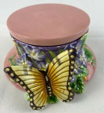 Fitz & Floyd Essentials Butterfly Pink Trinket Box Candy Dish Top Hat c 1970's