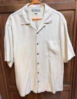 Tommy Bahama Men L 100% Silk Hawaiian Shirt Camp Aloha Yellow Herringbone Plaid