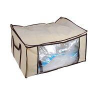 Saree Clothes Garment Sari Vacuum Storage Bags Wardrobe Organiser Tidy Cream XL