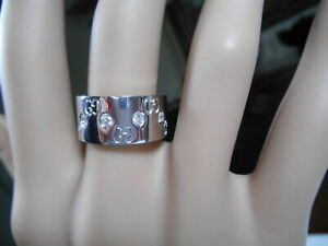 $5060 GUCCI MINT 10 Diamond 18K WG Gold ICON Wide Band Ring 10.5g US 5.75, Box