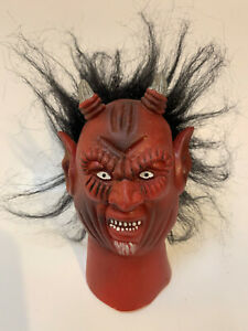 Vintage Rubber Devil Head with hair from possible puppet or toy