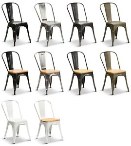 Tolix Style Industrial Metal Dining Chairs Vintage Retro Kitchen Cafe Stacking