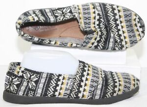 BOBS by SKECHERS Womens Espadrilles Slip-on Shoes Black Gray Yellow Size 8.5