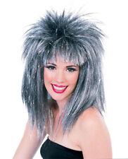Silver & Black Tinsel Wig Rocker Glitter Hair Womens Adult Spiky MOD Space 80s
