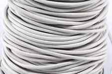 "50m White 3MM Genuine Round Leather Cord 1/8"" DIY Craft 50 Yards Beading String"