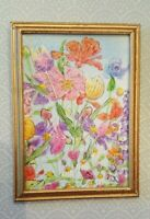 """Dollhouse miniature OOAK framed painting """"Summer Blooms"""" signed"""
