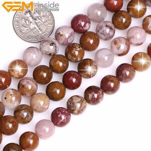 AA Grade Natural Gemstone Round Brown Aqua Nueva Agate Beads Jewelry Making 15''