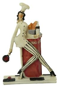Resin Decorative Ornament Thin Cook Chef Statue Figurine Kitchen Decor
