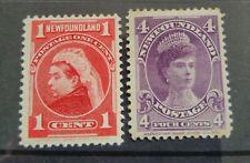 Newfoundland 1897-01 QV 1c and 4c Mint!! SG84, 89.