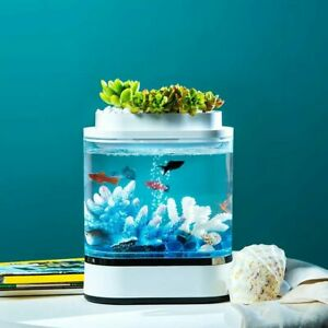 Mini Fish Tank USB Charging Self-Cleaning Aquarium with 7 Colors LED Light  2020