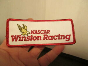 Vintage Embroidered Iron-On Patch - NASCAR WINSTON RACING - White