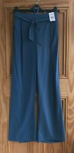 Ex Evans NEW Blue Wide Leg Belted Work Trousers Regular Plus Size 14- 26 RRP=£32