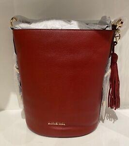 Michael Kors Brooke Red Pebbled Leather Medium Bucket Convertible Shoulder Bag