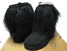 UGG SHEEPSKIN CUFF SUEDE WOMEN SHORT BOOTS BLACK US 5 /UK 3.5 /EU 36 /JP 23