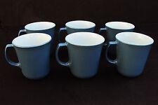 6 Vintage Pyrex Milk Glass Cornflower Blue Coffee Tea Mugs Cups Made in USA