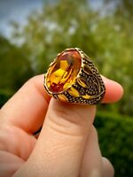 Solid Italy 14k Gold filled SS Mens Dragon Ring Lifetime Warranty EveryDay wear