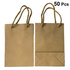 50PCS Large Kraft Brown Paper Grocery Shopping Bags With Rope Handles Retail
