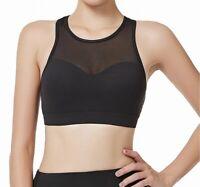 Yvette Womens Sports Bra Black Size 48 D-F Plus Mesh Yoke Racerback $50- 421
