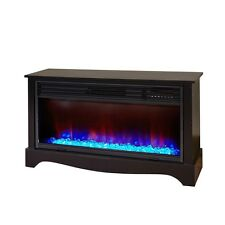 LifeZone 36-in 5,100-BTU Black Wood Infrared Quartz Electric Fireplace