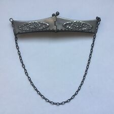 New listing Antique Four-Hinge Repousse Purse Frame Chain Sewing Holes Silver Tone Brass