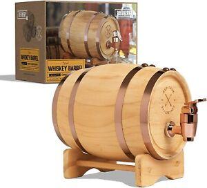 Wood Whiskey Barrel With Convenient Spout Miniature Dispenser 800ml / 27 fl oz