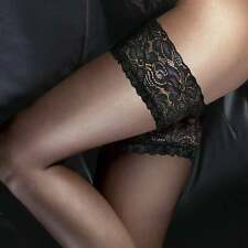 Couture Ultra Gloss Hold UPS Deluxe 10 Denier Floral Top Thigh Highs Medium Black