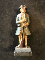 CAST IRON DOOR STOP G.WASHINGTON REVOLUTIONARY SOLDIER W/RIFLE UNIQUE AS-IS