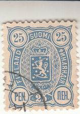 Finland 1889-1994. 25 pennia Blue. National arms - Russian inscription. Used